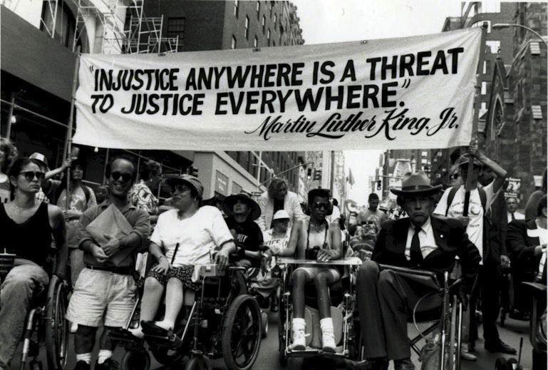 People rallying against injustice in an American street