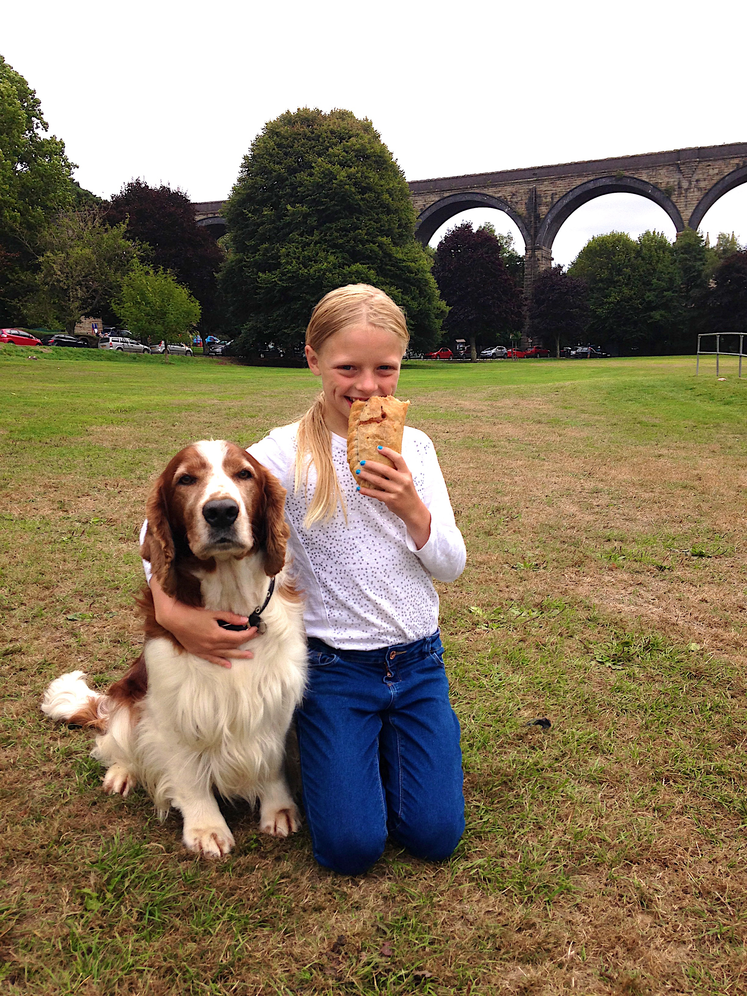 Picture of Daisy eating a post swim protein meal courtesy of Prima Bakeries